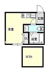 神奈川県横浜市中区西之谷町の賃貸アパートの間取り