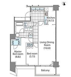 都営大江戸線 東新宿駅 徒歩2分の賃貸マンション 5階2LDKの間取り