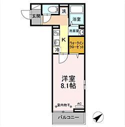 D-room土樋 2階1Kの間取り