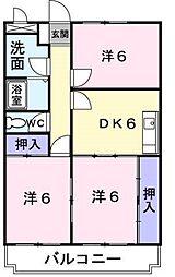 神奈川県海老名市中新田3丁目の賃貸マンションの間取り