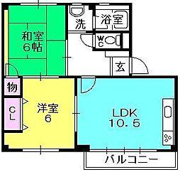 千島ハウス[401号室]の間取り