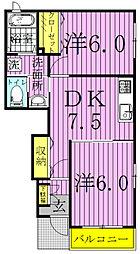 千葉県柏市八幡町の賃貸アパートの間取り
