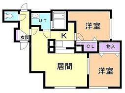ニューパレス弐番館[2階]の間取り