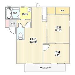 山口県下関市筋ケ浜町の賃貸アパートの間取り
