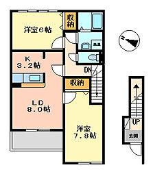 OCEAN TWINS A棟[2階]の間取り
