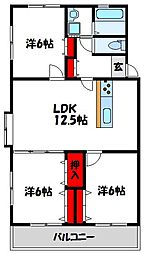 福岡県宗像市三倉の賃貸アパートの間取り