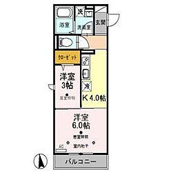 埼玉県川越市田町の賃貸アパートの間取り
