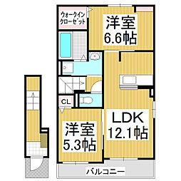 JR小海線 美里駅 徒歩10分の賃貸アパート 2階1LDKの間取り