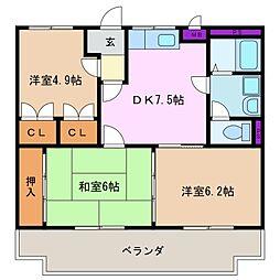 三重県四日市市小古曽3丁目の賃貸マンションの間取り