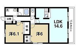 プライムコート西大寺[2階]の間取り