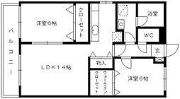 福岡県久留米市国分町の賃貸マンションの間取り
