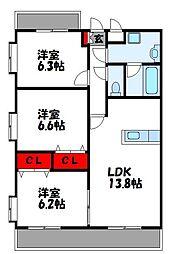 ルネス舞の里 3階3LDKの間取り