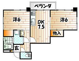 福岡県北九州市戸畑区千防1丁目の賃貸マンションの間取り