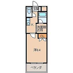 ル・マンA2番館 1階1Kの間取り
