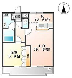 サンハ—ウッド[1階]の間取り