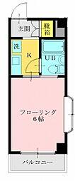 JR青梅線 昭島駅 徒歩3分の賃貸マンション 4階ワンルームの間取り