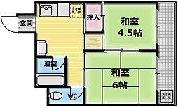 大扇コーポ[4階]の間取り