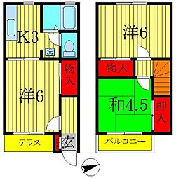 [テラスハウス] 千葉県松戸市新松戸5丁目 の賃貸【/】の間取り
