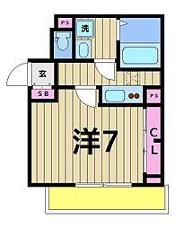 東京都足立区谷中3丁目の賃貸アパートの間取り
