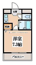 近鉄大阪線 布施駅 徒歩5分の賃貸マンション 4階1Kの間取り