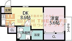 DaitoStyleTINA(ダイトウスタイルティーナ) 1階1DKの間取り