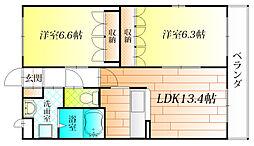 エスポアール古室[2階]の間取り