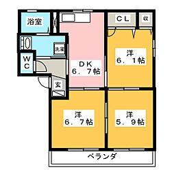 ラカーサフェリス F棟[2階]の間取り