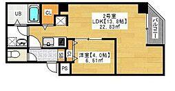 東京メトロ日比谷線 入谷駅 徒歩10分の賃貸マンション 2階1LDKの間取り