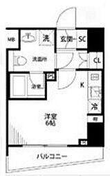 プレール・ドゥーク横濱紅葉坂 6階ワンルームの間取り