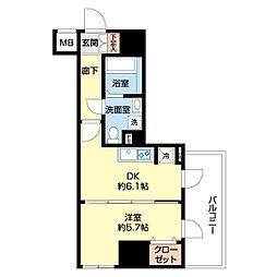 リヴシティ横濱新川町弐番館 4階1DKの間取り