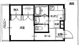 埼玉県越谷市大字大房の賃貸アパートの間取り