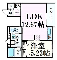 阪急神戸本線 六甲駅 徒歩5分の賃貸マンション 2階1LDKの間取り
