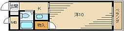 まるきマンション東大利[2階]の間取り