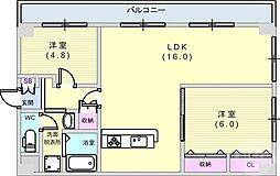 ユニーブル六甲 3階2LDKの間取り
