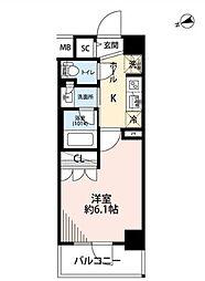 プレール・ドゥーク品川南大井 5階1Kの間取り