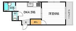 JR片町線(学研都市線) 鴫野駅 徒歩7分の賃貸マンション 3階1DKの間取り