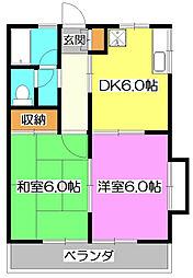 埼玉県所沢市喜多町の賃貸アパートの間取り
