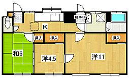 横山アパート[102号室]の間取り