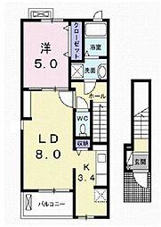 伊予鉄道高浜線 衣山駅 徒歩25分の賃貸アパート 2階1LDKの間取り