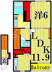ラ カーサ ドルチェ 2階1LDKの間取り