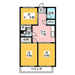 第三元八事ビル[4階]の間取り