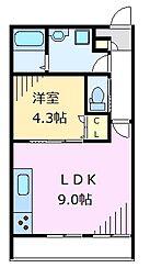 京王井の頭線 下北沢駅 徒歩11分の賃貸アパート 2階1LDKの間取り