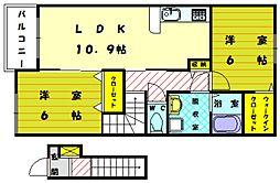 ヒナタ ウエスト[2階]の間取り