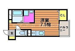 岡山電気軌道清輝橋線 東中央町駅 徒歩5分の賃貸アパート 3階ワンルームの間取り