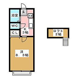 宮城県仙台市若林区遠見塚2丁目の賃貸アパートの間取り