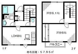 JR中央本線 国分寺駅 徒歩10分の賃貸テラスハウス 2LDKの間取り