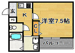 大阪府大阪市東淀川区瑞光4丁目の賃貸アパートの間取り