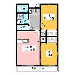 リーブラ[4階]の間取り