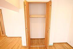 リビング、キッチン、玄関、廊下などのわずかなデッドスペースもできるだけ収納にして利用できるように工法しております。また、ログマンション仕様には全居室に収納やクローゼットを設けております。