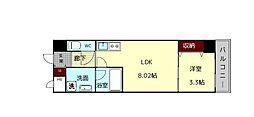 (仮)西大寺南マンション 8階1LDKの間取り